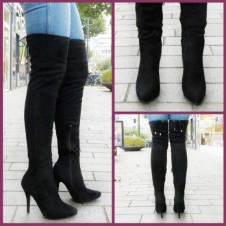 Zwarte overknee laarzen met veters en naaldhak