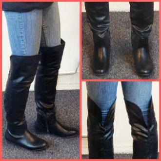 Platte zwarte overknee laarzen