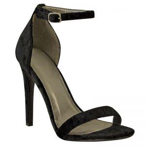 Zwart velvet of velours open sandaaltje met naaldhak | Silhouette | Hoge hakken