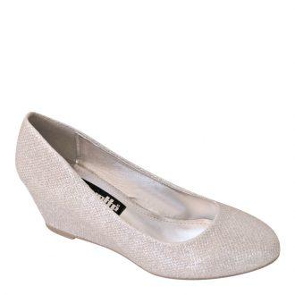 Sleehak zilveren pumps met glitters gala schoen