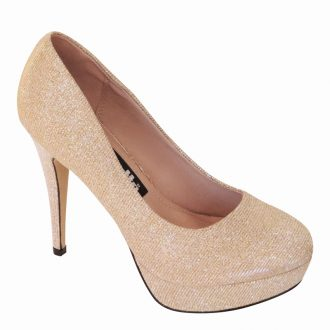 Hoge plateau pumps in goud met ronde neus stiletto hak