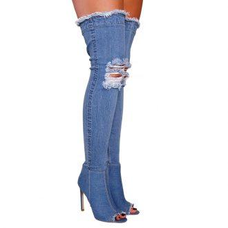 Jeans overknee laarzen peeptoe denim boots met hoge hakken