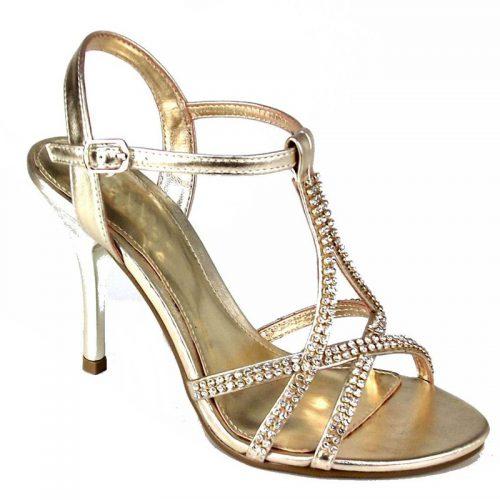Gouden gala of poseerschoenen met steentjes en hakken