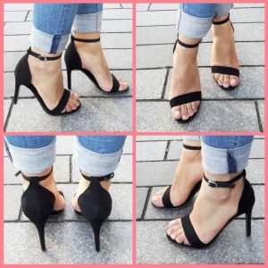 Zwarte open strappy sandal schoentjes in kleine maten met naaldhak