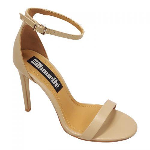 Beige open schoentjes met smalle bandjes en hoge naaldhak