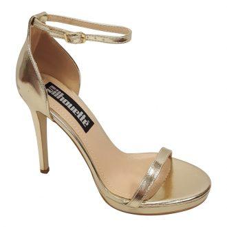 Gouden sandaaltjes met bandjes, kleine plateauzool en hoge hakken
