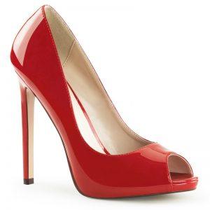 Peeptoe pumps in rood lak met stiletto open teen