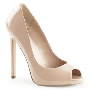 Peeptoe pumps in nude lak met stiletto open teen