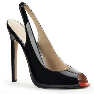 Zwarte hoge peeptoe slingback pumps met stiletto hakken