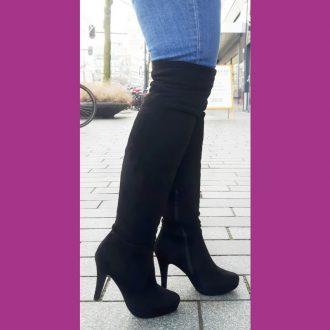 Bestseller | Suede look overknee laarzen met ronde neus en naaldhakken