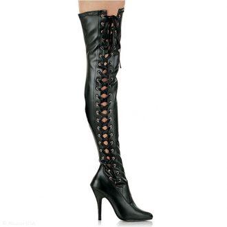 Hoge stretch overknee laarzen met naaldhakken en veters