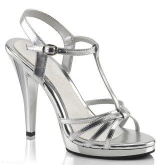 Zilveren sandalen met hoge hakken en bandjes | SILHOUETTE