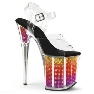 20 cm hoge dansschoenen perspex met regenboog plateau en naaldhak