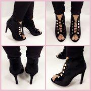 Korte velvet boots in zwart met naaldhakken