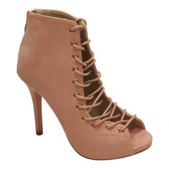 Lace up enkellaars in roze pink korte boots met naaldhak