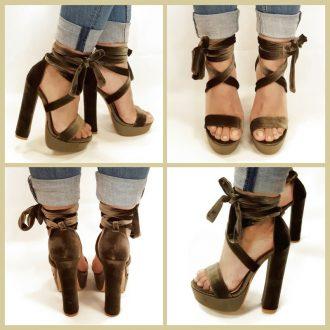 Khaki of legergroene sandalet met hoge brede hakken en banden