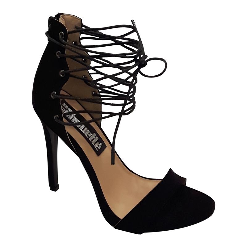 Hedendaags Zwarte sandaaltjes met hoge hakken en veters voor | SILHOUETTE XH-51