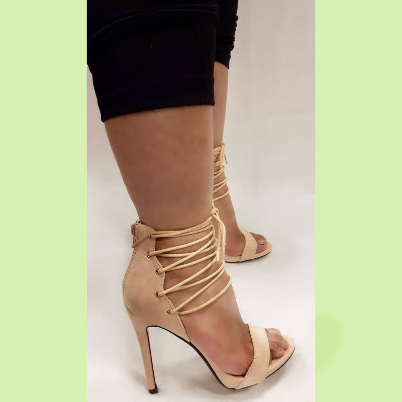 Goede Beige sandaaltjes met hoge hakken en veters voor | SILHOUETTE AQ-86