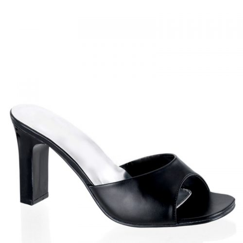Zwarte slippers met brede hakken | Slippers met hak grote maat