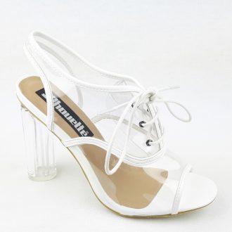 Doorzichtig perspex pexy wit schoentje met glazen hak en veter