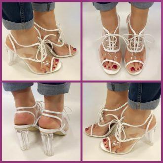 Doorzichtige schoenen met blokhakken