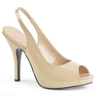 Naturel beige peeptoe pumps met naaldhakken in maat 42 43 44 45 46
