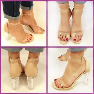 Open schoenen met bandjes en brede glazen hakken