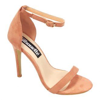 Open sandaaltjes in oud roze met smalle bandjes en hoge hakken
