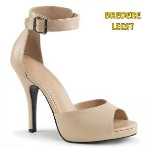 Beige open schoenen in grote maten met enkelband en naaldhakken