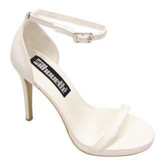 Witte open schoentjes met smalle bandjes en naaldhak