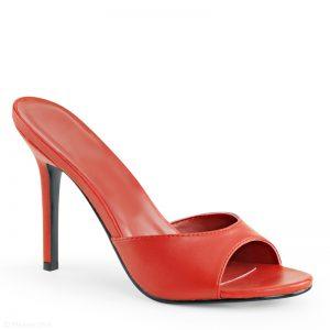 Rode slippers met naaldhak | Rood muiltje met hak | Slippers met hak rood