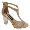 Gouden sandaaltjes met T-band, strass-steentjes en doorzichtige brede hak