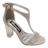 Zilveren sandaaltjes met T-band, strass-steentjes en doorzichtige brede hak