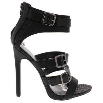 Zwart hooggesloten sandaaltje met naaldhakken en bandjes over de voet