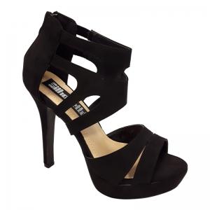 Zwarte hekwerk sandaal met plateau en naaldhakken | Zwarte high heels