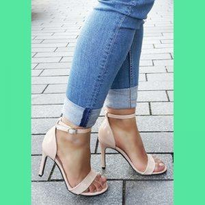 Nude open strappy sandal schoentjes in kleine maten met naaldhak