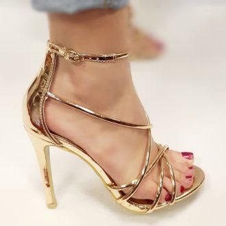 Rose goud metallic open schoenen met naaldhakken en bandjes