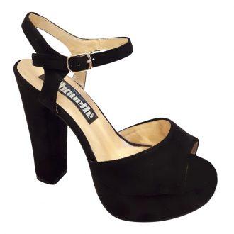 Zwarte sandaal met blokhak, open teen en plateauzool