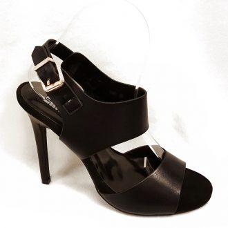 Zwarte open schoentjes met brede banden en hoge hak