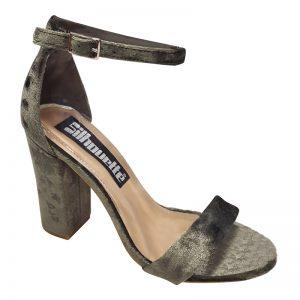 Open sandaaltje in kaki groen velours met enkelbandje en stevige hak
