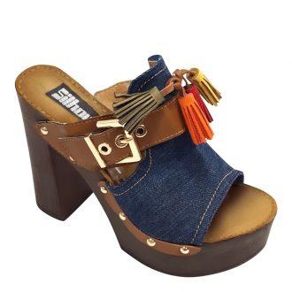 Spijkerstof slippers in donkerblauw denim met brede hakken en plateau