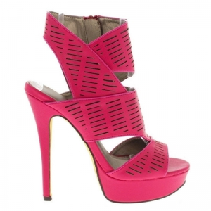 Hoge roze open sandaal met plateau en naaldhak | SILHOUETTE