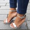 Kleine maat zilveren open schoenen met naaldhak en bandjes