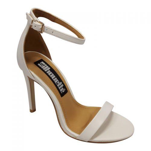 Witte open schoentjes met smalle bandjes en hoge naaldhak