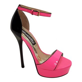 Killerheels neon roze met zwart met naaldhakken en plateauzool | Shop nu