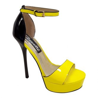 Killerheels neon geel met zwart met naaldhakken en plateauzool