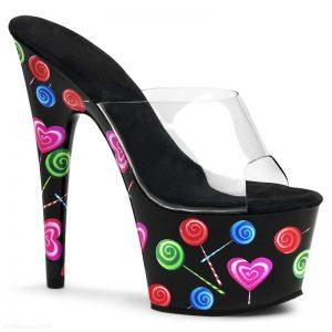 Pleaser Lolly slippers zwart met hoge plateau en naaldhak | SILHOUETTE