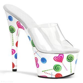 Pleaser Lolly slippers wit met hoge plateau en naaldhak   SILHOUETTE