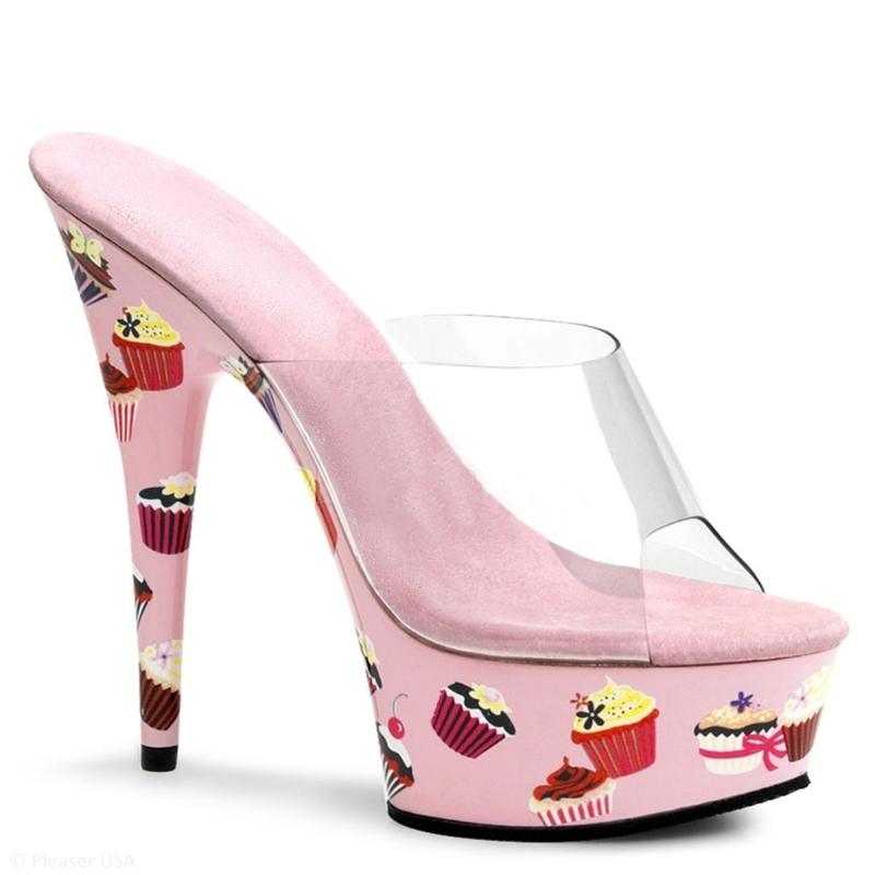 Roze Pleaser slippers met plateau hoge naaldhakken | SILHOUETTE