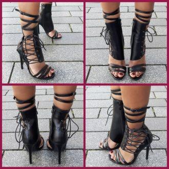 Sexy zwarte open schoenen met veters en naaldhakken | SILHOUETTE